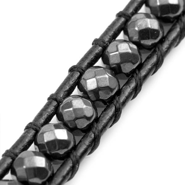 Hematite Black Leather Wrap Beaded Medical Alert Bracelets inset 1