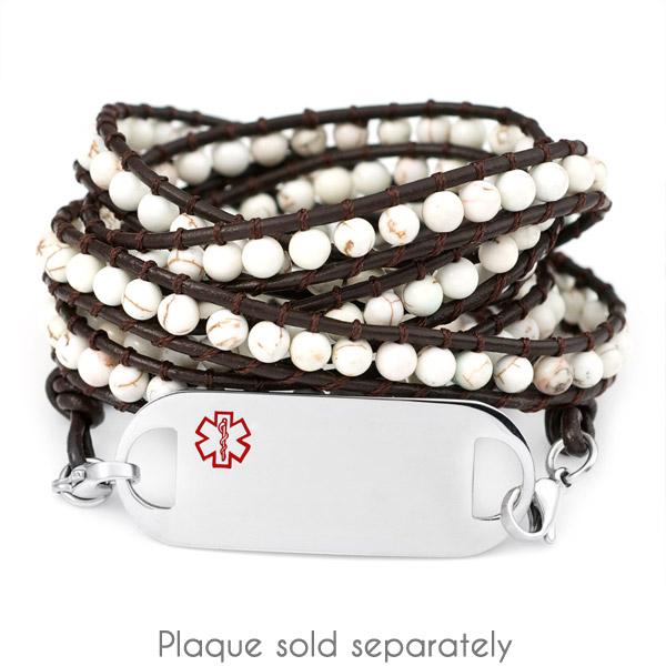 White Turquoise Leather Wrap Beaded Medical Alert Bracelets inset 1