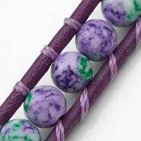 Violet & Green Beaded Leather Medical Alert Bracelet  inset 1