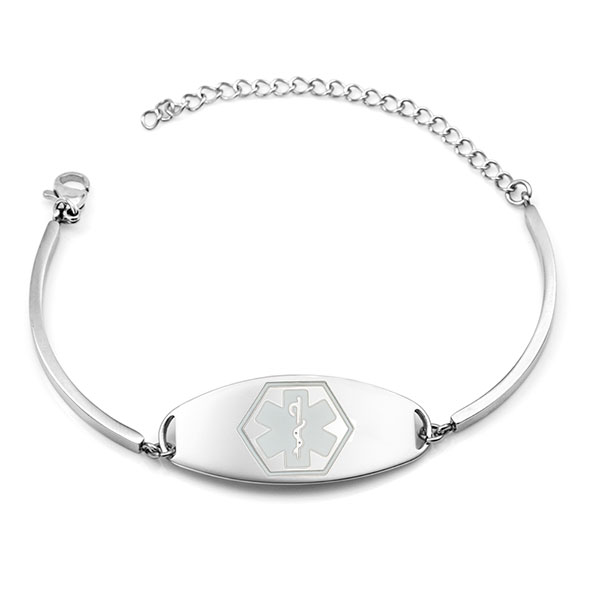 Shiny Sierra Medical ID Bracelet with White Symbol inset 1