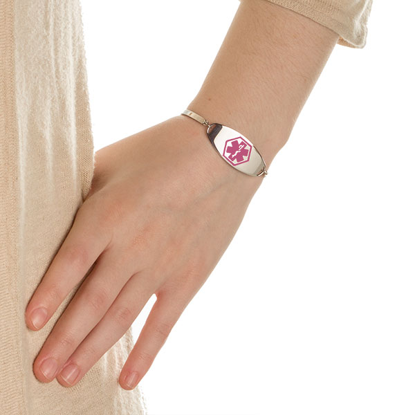 Prescilla Adjustable Medical ID Bracelet with Pink Symbol  inset 2