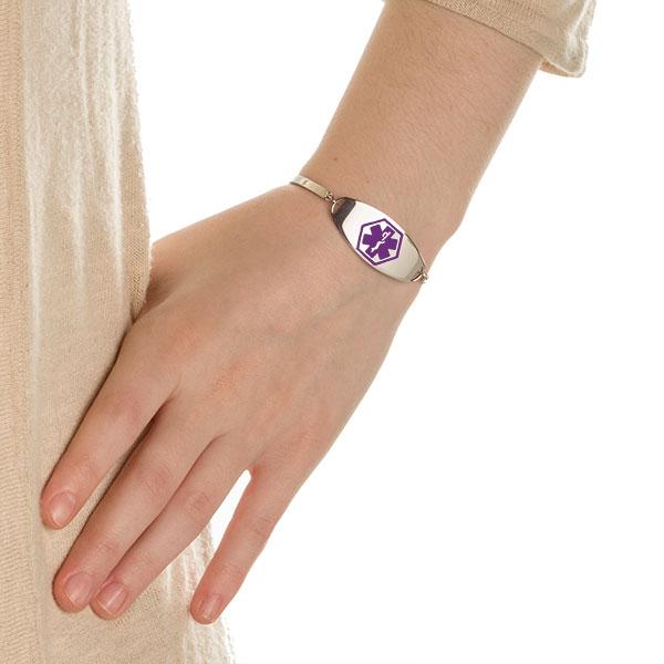 Adjustable Silver Medical Alert Bracelet with Purple Symbol inset 2