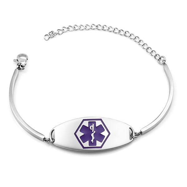 Adjustable Silver Medical Alert Bracelet with Purple Symbol inset 1