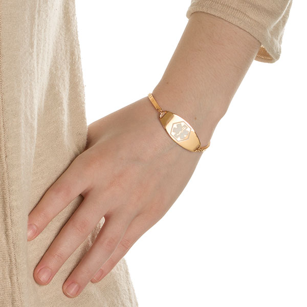 Emira Gold Adjustable Medical Alert Bracelet for Women inset 2