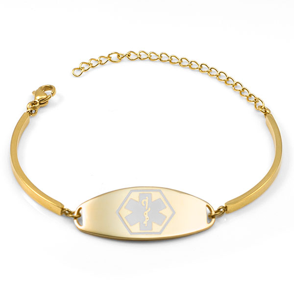 Emira Gold Adjustable Medical Alert Bracelet for Women inset 1