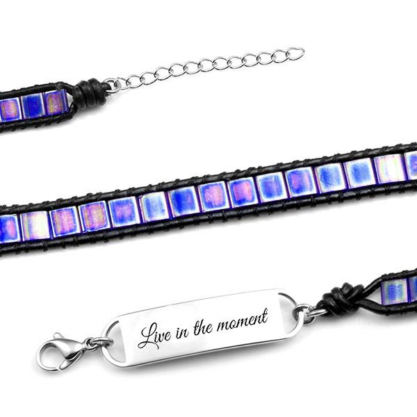 Adjustable Stunning Purple Double Wrap Shell Engraved Bracelet inset 1