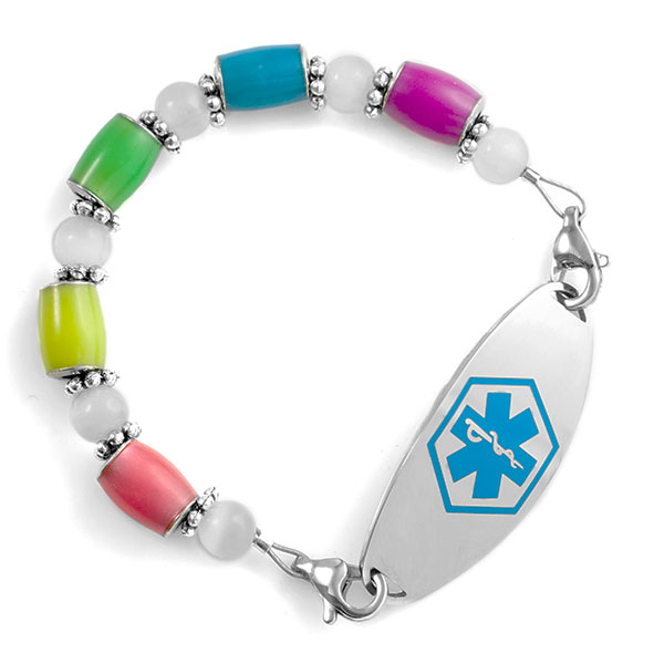 Glow in the Dark Multicolor Beaded Medical Alert Bracelet Strap inset 2