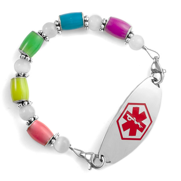 Glow in the Dark Multicolor Beaded Medical Alert Bracelet Strap inset 4