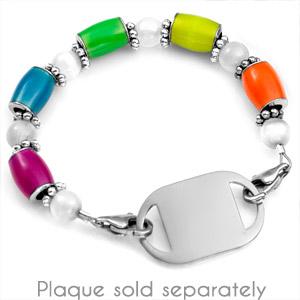 Glow in the Dark Multicolor Beaded Medical Alert Bracelet Strap inset 1