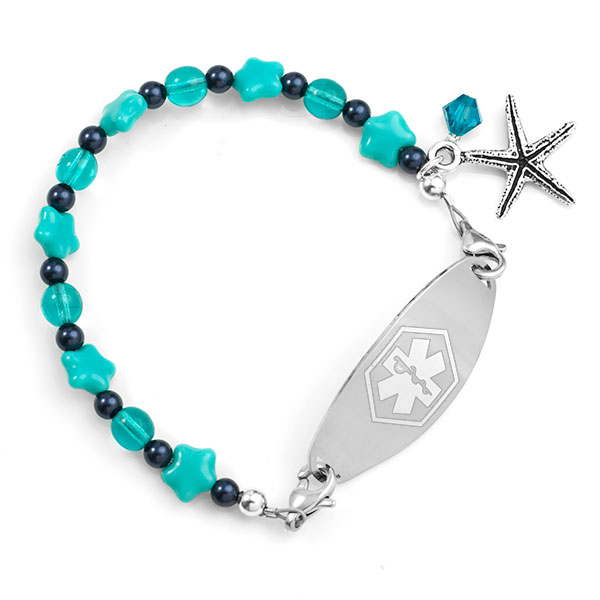 Seaside Starfish Beaded Medical Alert Bracelet for ID Tags inset 1