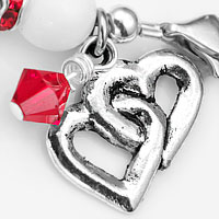 Hearts Bond Charm Red Trim Beaded Medical Bracelets  inset 2