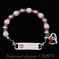 Hearts Bond Charm Red Trim Beaded Medical Bracelets  inset 3