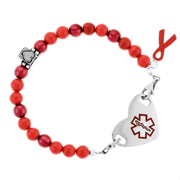 Red Ribbon Heart Beaded Medical Alert Bracelet for ID Tags inset 2