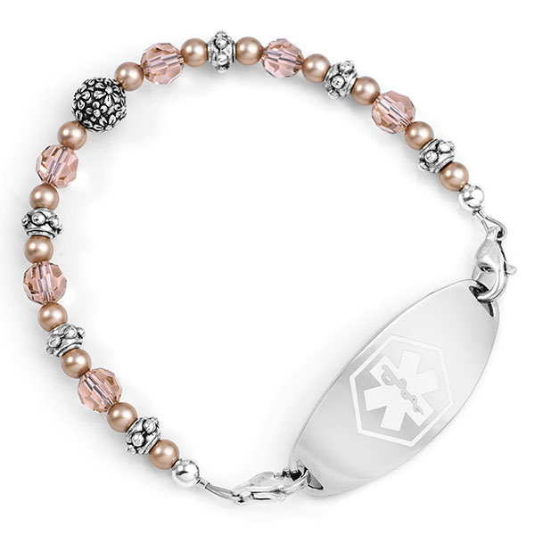 Carnation Pink Beaded Medical Alert 6in Bracelet for ID Tags inset 1