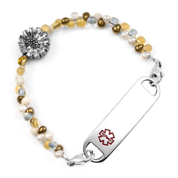 Golden Honey Sunflower Beaded Medical Alert Bracelet for ID Tags inset 1
