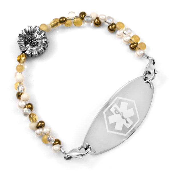 Golden Honey Sunflower Beaded Medical Alert Bracelet for ID Tags inset 2
