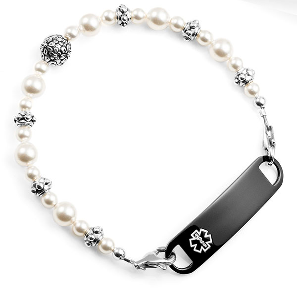 Floral Pearl Beaded Medical Alert Bracelets for Women Strap inset 2