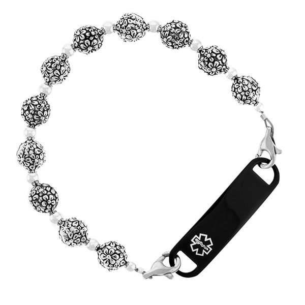 Blossom Beaded Medical Alert Bracelet for ID Tag inset 2