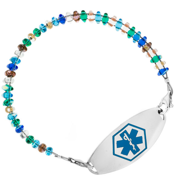 Pebble Beach Beaded Medical Alert Bracelets for ID Tag inset 2