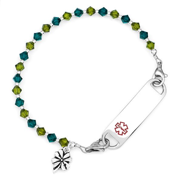 Lucky Clover Shamrock Beaded Medical Alert Bracelet for ID Tags inset 2