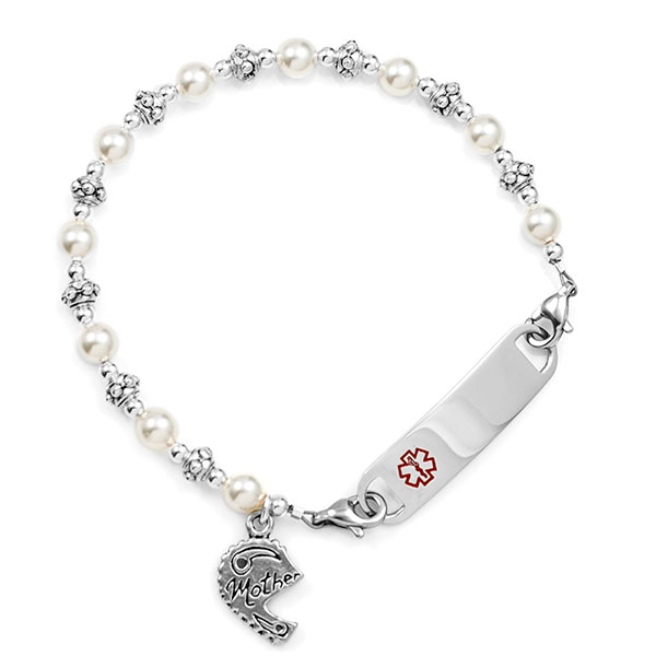 Mother Split Heart Beaded Medical Alert Bracelet for ID Tag inset 1