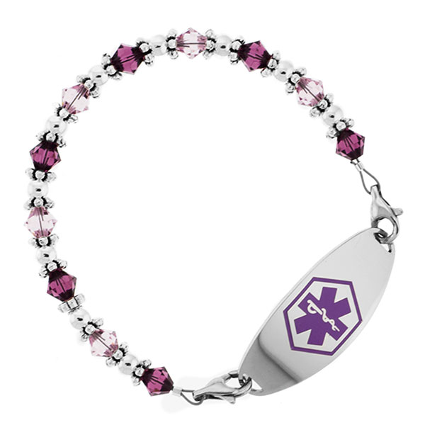 Lovely in Lavender Beaded Medical Alert Bracelets for ID Tags inset 1