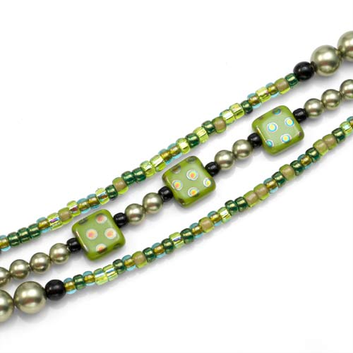 Spring Green Triple Beaded Medical Alert Bracelets 5 - 7 In (No Tag) inset 1