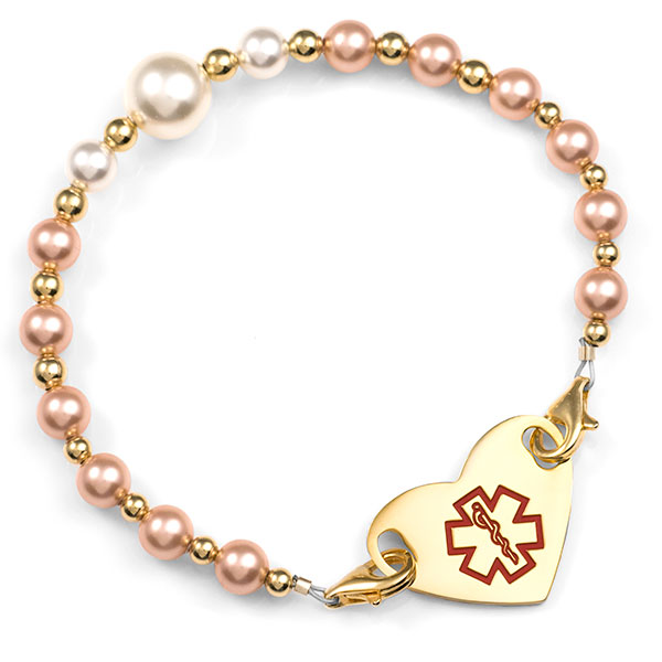 Peach & Pearl Beaded Medical Alert Bracelets for ID Tag inset 1