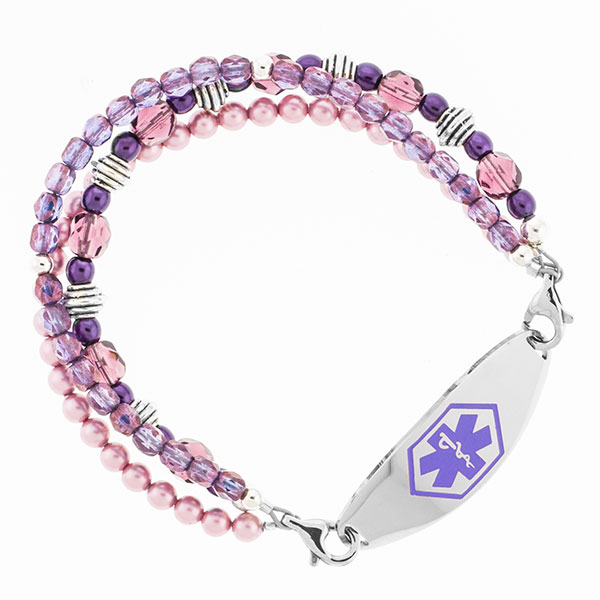 Baroness Purple Beaded Medical Alert Bracelet for ID Tag inset 2