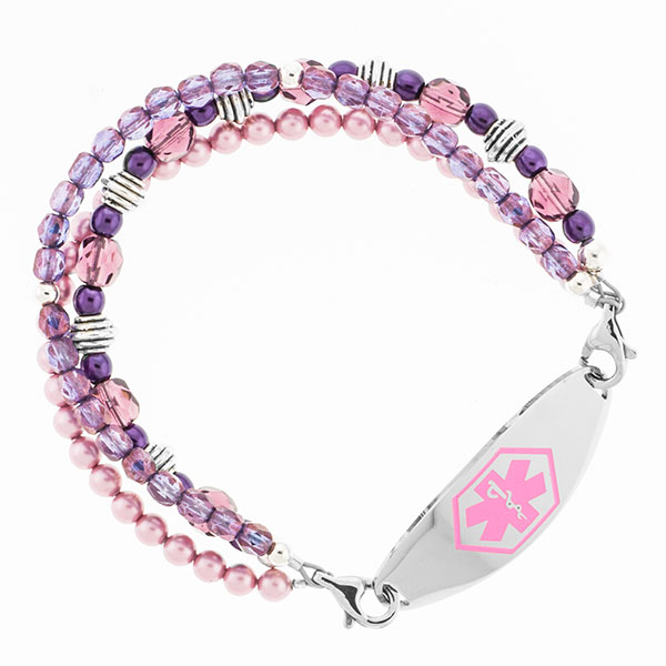 Baroness Purple Beaded Medical Alert Bracelet for ID Tag inset 3