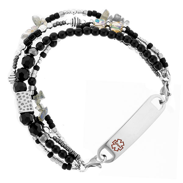 Stardust Beaded Medical Alert Bracelet for ID Tag inset 1