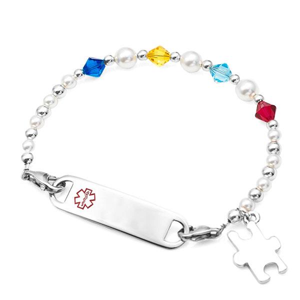 Autism Alert / Support Bead Bracelet & Puzzle Charm inset 1