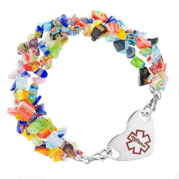 Millefiori Beaded Medical Alert Bracelets for ID Tags inset 2