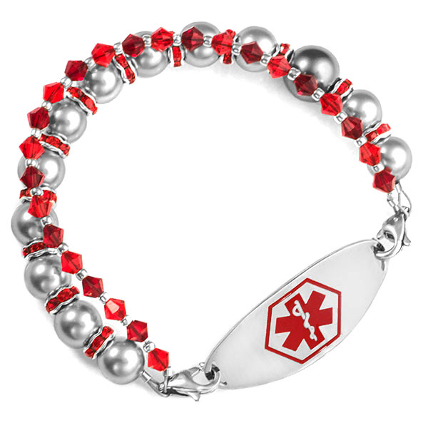 Silver and Red Womens Beaded Bracelet  6 In (No Tag) inset 1
