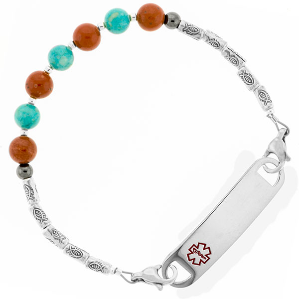 Jasper and Riverstone Beaded Medical Alert Bracelet for ID Tag inset 1