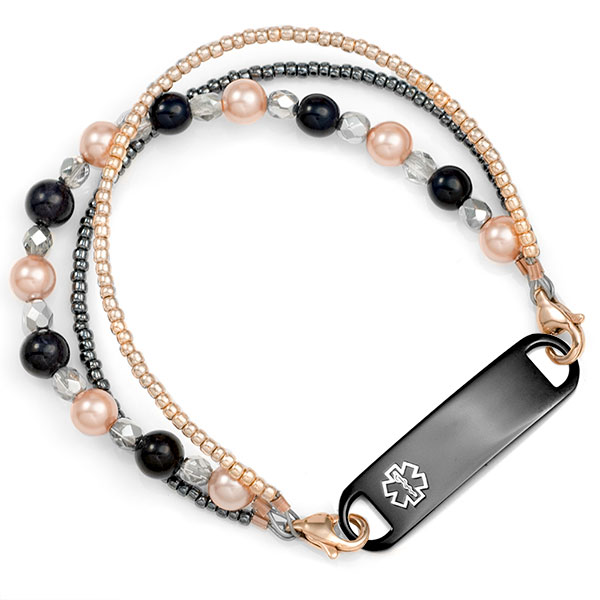 Pearl Rose River Beaded Medical Alert Bracelet for ID Tag inset 2