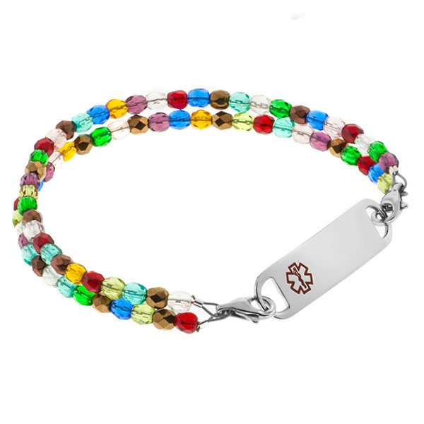 Dream Of Color Beaded Medical Alert Bracelet for ID Tags inset 1