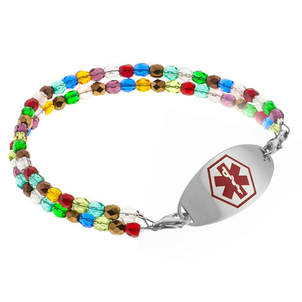 Dream Of Color Beaded Medical Alert Bracelet for ID Tags inset 2