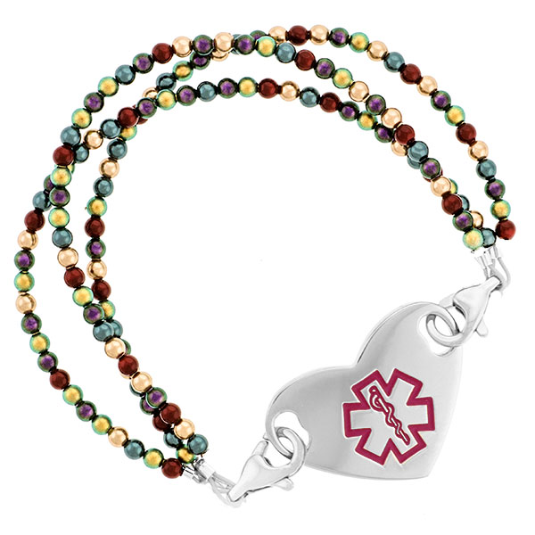 Jewel Pearl Beaded Medical Alert Bracelet for ID Tag inset 3