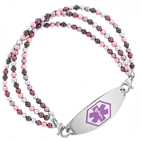 Lavender Faire Beaded Medical Alert Bracelet for ID Tag inset 1