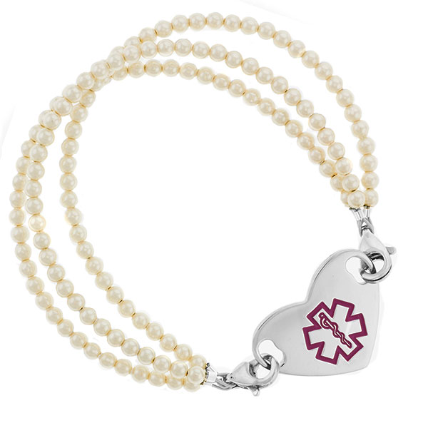 Triple Pearl Beaded Medical Alert Bracelet for ID Tag inset 2