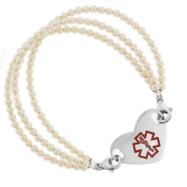 Triple Pearl Beaded Medical Alert Bracelet for ID Tag inset 3