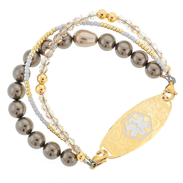 Golden Pearl Beaded Bracelet for Medical ID 6 inch inset 1