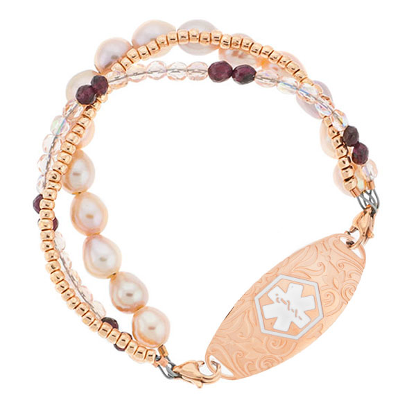 Rose Gold Pearl Beaded Bracelet for Medical ID 6 inch inset 1