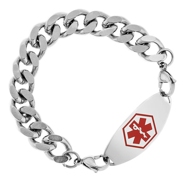 Six Inch Wide Polished Stainless Steel Link Bracelet  inset 1