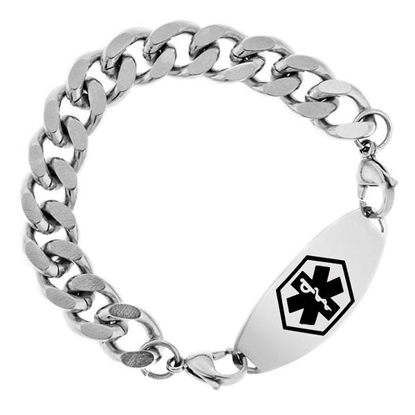Seven Inch Wide Polished Stainless Steel Link Bracelet  inset 2