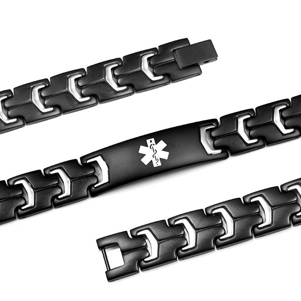 Jet Black Steel Medical ID Bracelets for Men inset 1