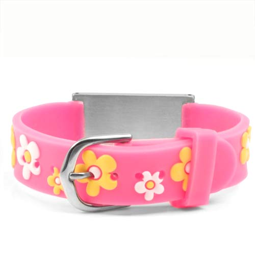 Pink Flower Adjustable Medical ID Bracelet  inset 1