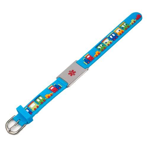 Blue Train Medical ID Bracelet for Boys or Girls inset 1