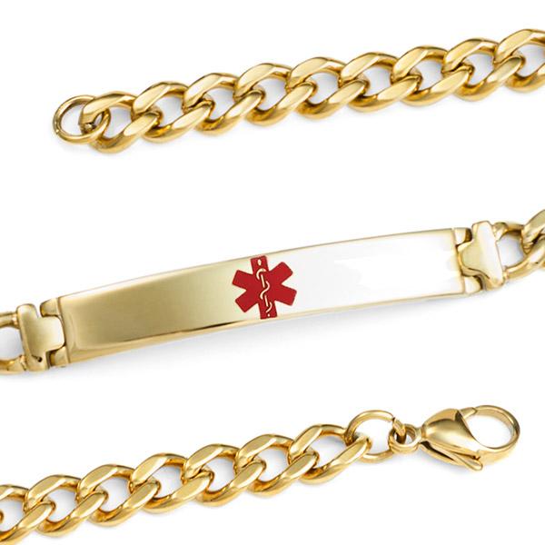 Gold Plated Bracelet  Medical ID Bracelet 8 inch  inset 1